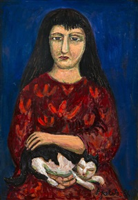 woman with a cat by alpo jaakola