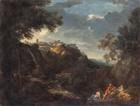 paesaggio con figure e veduta di tivoli by jan frans van bloemen