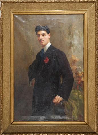 ritratto di gentiluomo con garofano allocchiello by rinaldo agazzi
