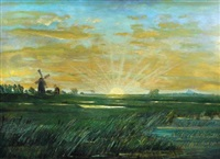 view of ely cathedral from the fens at sunset by alfred richard blundell