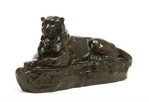 recumbent panther by antoine louis barye