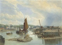 a town on an estuary at low tide by edward duncan
