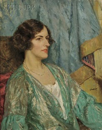 portrait of a woman (marie (walther) sterner lintott, the artist's wife?) by edward barnard lintott