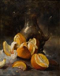 nature morte à la théière et aux oranges by frans mortelmans