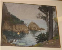 coastal scene with rocks and pine tree by gustave f. goetsch