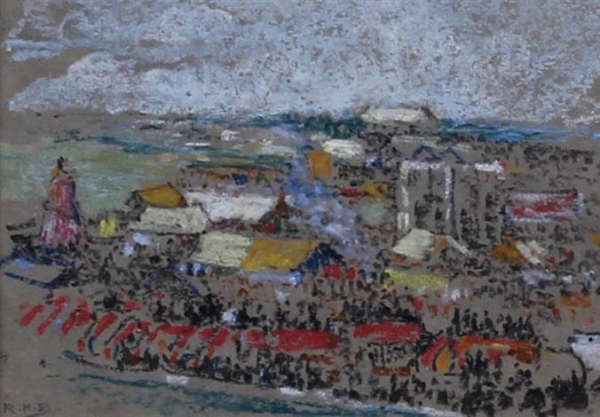 farmyard and farming scenes, a london (hampstead?) boating pond, a fairground, on the beach, a still life (13 works) by rudolf helmut sauter