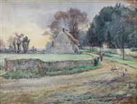 country lane with a cottage and chickens on a track by edith fisher