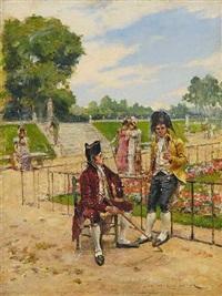 spaziergänger im jardin du luxembourg in paris by henri victor lesur
