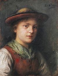 brustbild einer jungen frau in tracht by emma (edle von seehof) müller