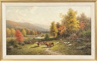 autumn landscape with cows by george w. waters