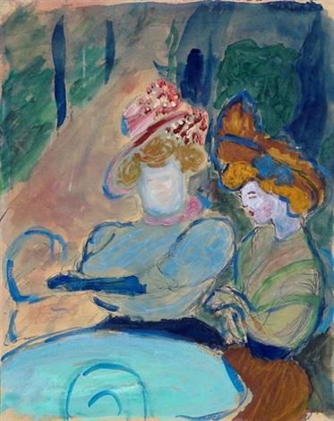 zwei damen im straßencafé by marianne werefkin
