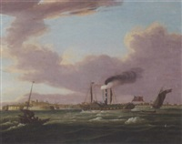 a crowded steamer coming into ramsgate by john harwood