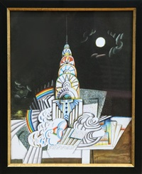 chrysler building (night) by saul steinberg