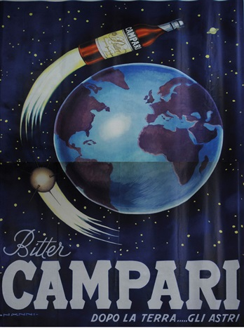 plakat campari in 2 joined parts by nino nanni