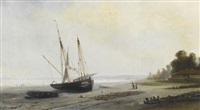 goélette et barque de pêche au mouillage by paul charles e. gaillard lepinay