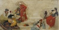 orientalinnen in bunten gewändern auf treppe gruppiert by franz xavier simm