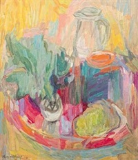 still life with vegetables on a tray and a jug by may (mary ellen) hillhouse