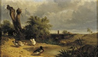 ducks by the pond by théophile victor emile lemmens