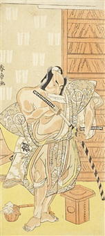 depicting the actor nakamura sukegoro ii, standing with a partially rolled letter held between his teeth, before a wooden door and about to withdraw his sword, a sanpobon and a lacquer hishaku containing a ritual folded paper lying at his feet (hosoban) by katsukawa shunsho