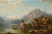 gebirgssee mit boot vor einer kleinen kapelle by franz hengsbach