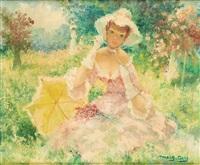 jeune femme dans un parc by marguerite aers