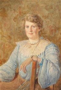 portrait of a lady in a blue dress, seated three quarter length by joseph poole addey