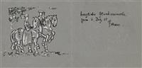 reitendes paar in mittelalterlicher tracht by franz marc