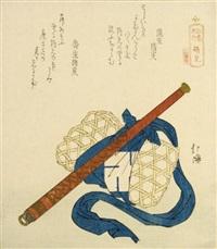 surimono: tsurumi (shikishiban from enoshima kiko) by hokkei