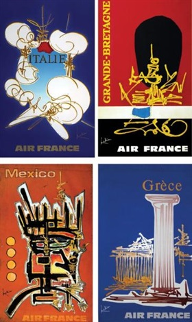 air france set of 4 by georges mathieu