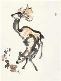 鹿鸣 立轴 设色纸本 by cheng shifa