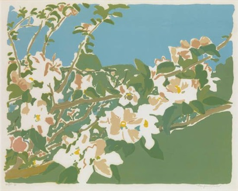 apple blossoms i by fairfield porter
