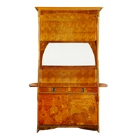 marquetry cabinet with goose design by louis majorelle