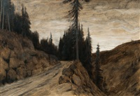 pines in dusk by hans am ende