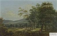 weite landschaft mit rindern und hirten by franz joseph manskirch
