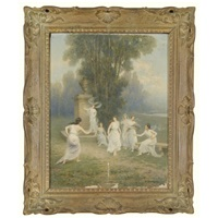 frolicking nymphs by emile-louis foubert