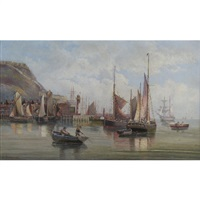 busy harbour scene with boats and figures by louise pickard