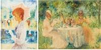 déjeuner au jardin et jeune femme à l'ombrelle (2 works) by marguerite aers