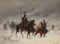 uhlans and french prisoners of war in a winterlandscape by christian sell the elder
