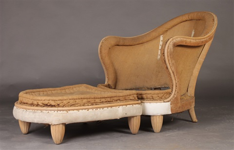 art deco chaise lounge and matching ottoman 2 works by jules leleu on artnet. Black Bedroom Furniture Sets. Home Design Ideas