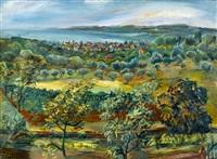 küstenlandschaft mit olivenhain und stadt by nicolas gloutchenko
