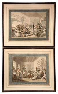 satirical cartoons: french barracks; english barracks (pair) by thomas rowlandson
