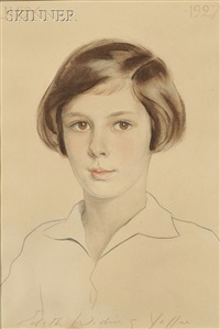 female portrait (+ another; 2 works) by edith widing yaffee