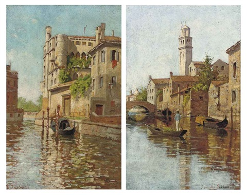 a gondolier on a venetian backwater a gondola moored on a venetian canal pair by romolo tessari