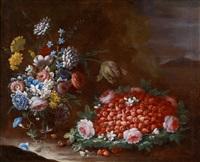 blumen- und früchtestillleben (+ another; pair) by francesco della questa