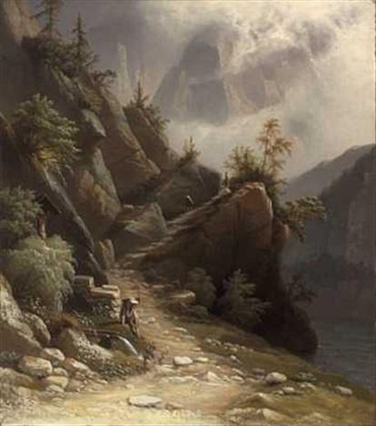 mennesker på sti i fjellet by knud andreassen baade