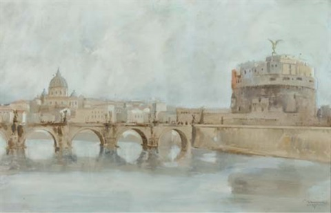 view on castel santangelo rome by ernesto giuliano armani