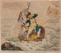 a french hail storm, or neptune loosing sight of the brest fleet by james gillray
