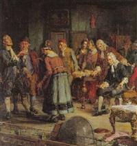 ludvig holberg indstuderer en scene fra erasmus montanus pa den gamle skueplads by hans peter lindeburg