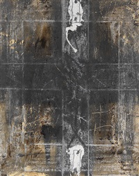 paper with two marks by antoni tàpies