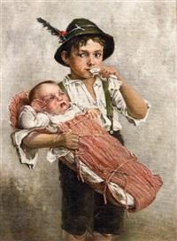 bub mit schwesterchen by edmund adler